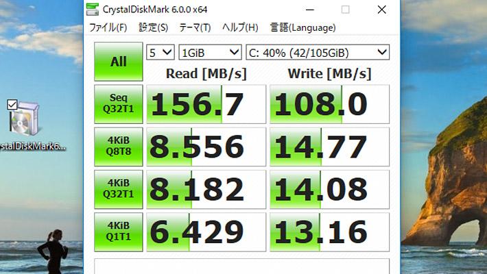 最後にCrystalDiskMark6による、ストレージの読み書きの性能になります。 128GB eMMCストレージを搭載した「DELL Inspiron 11 3000 (3185) 2 in 1」なのですが、ちょっとスコアが低いですね