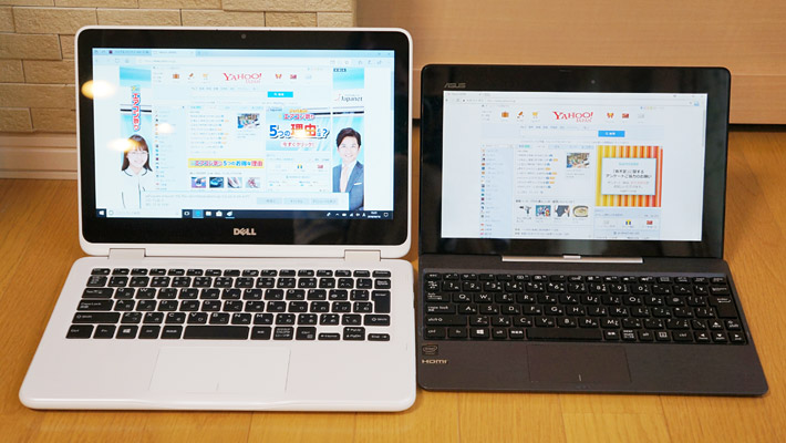 左が「Inspiron 11 3000 2 in 1」で右が「ASUS TransBook T100TAL」です