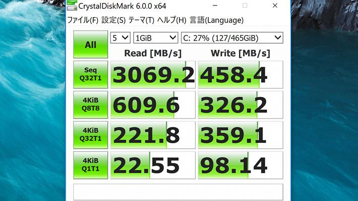 最後にCrystalDiskMark6による、ストレージの読み書きの性能になります。 さすが、PCIeソリッドステートドライブは256GB SSDを搭載した「DELL NEW XPS 13(9370)」というスコア
