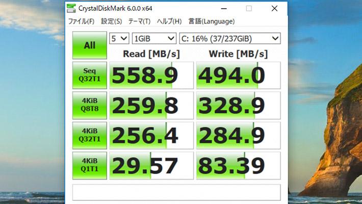 CrystalDiskMark6によるM.2 SSDのスコア
