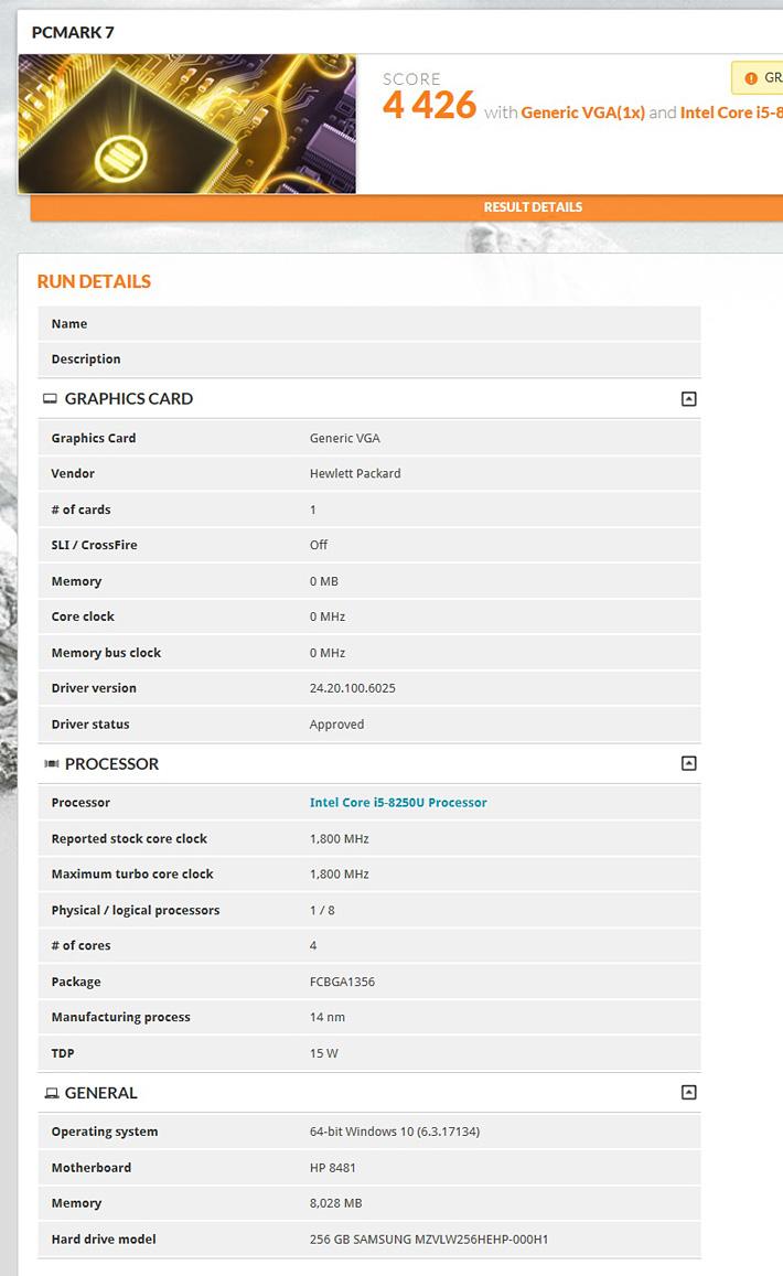 HP ENVY 13のPCMark 7のベンチマークスコア