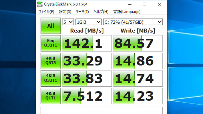 最後にCrystalDiskMark6による、ストレージの読み書きのベンチマークになります。 「ASUS TransBook mini H103HAF」は64GB eMMCストレージなので、HDDよりは早くSSDよりは遅いといった具合です。