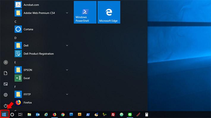デスクトップ画面を開いた後、画面左下のWindowsのロゴマーク(スタートメニュー)をクリックします。