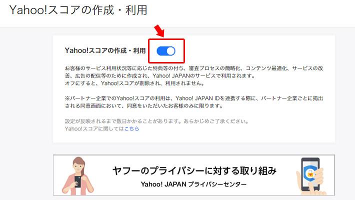 「Yahoo! スコアの作成・利用」のページが表示されますので、ボタンをクリックして無効化します。青いボタンが白色になれば、Yahoo! スコアの無効化(拒否)の完了です。