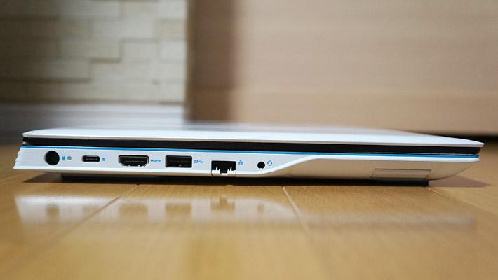 本体の左側側面には、電源端子、USB Type-C(DisplayPort Alt-Mode対応)、HDMI、SuperSpeed USB 3.1×1、ギガビットイーサネット、ヘッドフォン/マイクがあります。