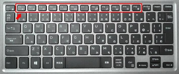 ノートパソコンのキーボードには、ファンクションキー(F1やF2といった、キーボード上部のエリア)に、マルチメディアキーと呼ばれる、ショートカットボタンが設定されている場合がほとんどです。マルチメディアキーによって、画面の明るさや音量の調整、音楽の一時停止やスキップなど、簡単に機能を使えるようになっています。
