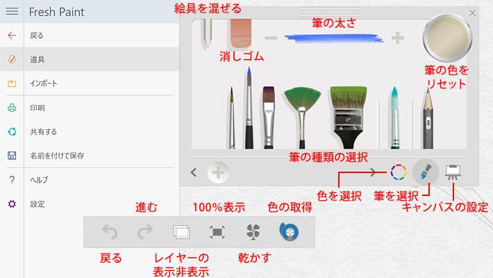 この画面に表示されているメニューやツールの紹介になります。