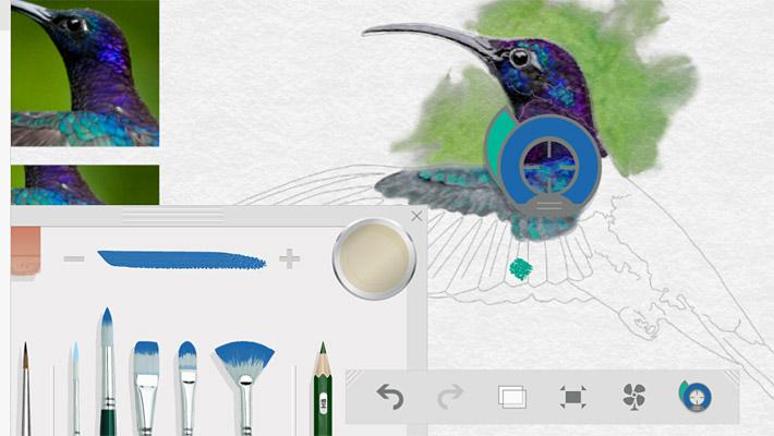 「色の取得」をクリックすると、キャンバス上にアイコンが現れます。アイコンを移動して、色を取得したい部分に移動させることで、筆にその色が反映されます。
