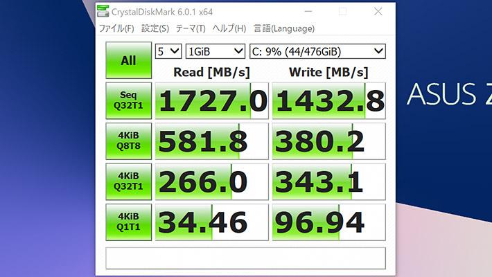 最後にCrystalDiskMark6による、ストレージの読み書きのベンチマークになります。 今回の「ASUS ZenBook S13(UX392FN)」は、SSD(PCI Express 3.0 x2接続)を搭載したパソコンになります。通常のHDDより高速・軽量であり、さらに振動にも強いのでモバイルノートパソコンに最適です。