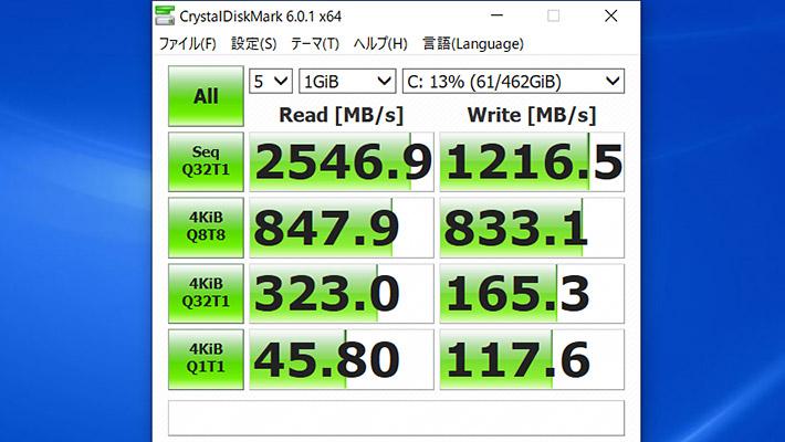 最後にCrystalDiskMark6による、ストレージの読み書きのベンチマークになります。 さすが、PCIe NVMe M.2 ソリッドステートドライブは512GB SSDを搭載しているだけあって、かなりのスコアですね。こちらも同様の構成の「ENVY 13」と、ほぼ同等となっています。
