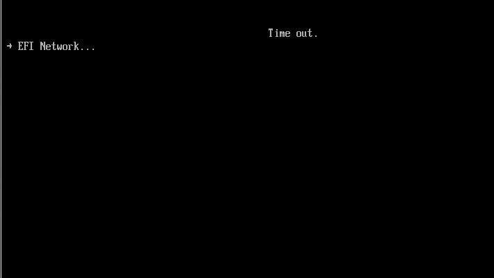 準備された仮想環境にWindows 10をインストールしなければならないのですが、「Time out.」というような画面が表示されてしまうことがあります。